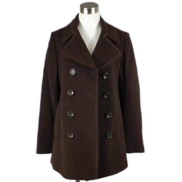 Dkny Jackets & Blazers - DKNY Brown Wool Pea Coat Mid Length Jacket